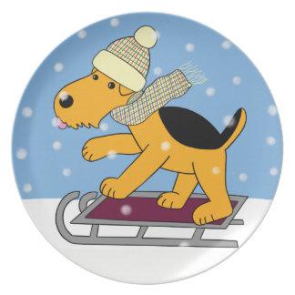 Prato Cão de Airedale Terrier dos desenhos animados na