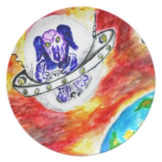 Prato Cão estrangeiro na arte do espaço