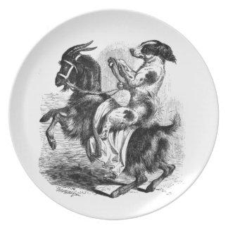 Prato Cão que monta uma cabra
