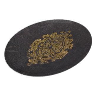 Prato Capa do livro de couro