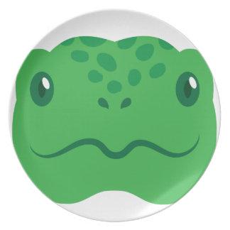Prato cara pequena bonito da tartaruga da tartaruga