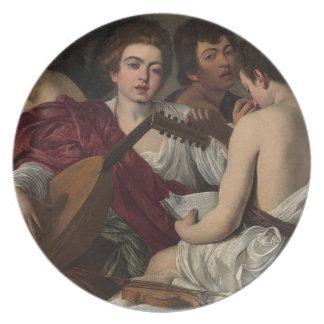 Prato Caravaggio - músicos - trabalhos de arte clássicos