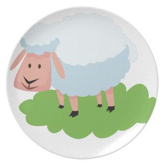 Prato carneiros brancos e shaun os carneiros