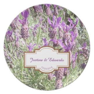 Prato Casamento personalizado flores da lavanda francesa