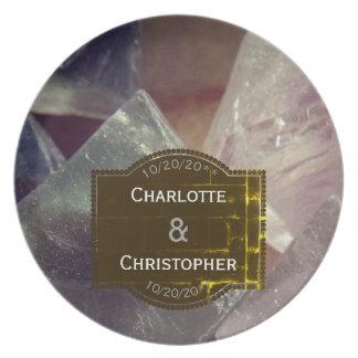 Prato Casamento personalizado pedra preciosa da fluorite