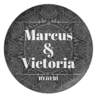 Prato Casamento preto e branco da mandala