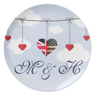 Prato Casamento real dos corações americanos britânicos