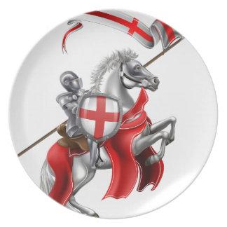 Prato Cavaleiro medieval de St George no cavalo