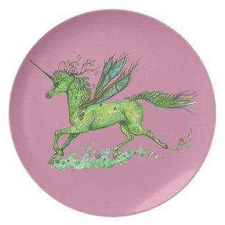 Prato Cavalo verde de Pegacorn Pegasus do unicórnio da