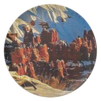 Prato cenas da rocha vermelha nevado