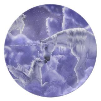 Prato Céu nocturno mágico & Mystical dos unicórnios da
