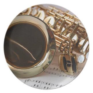 Prato Chaves de Notenblatt do brilho do ouro da música