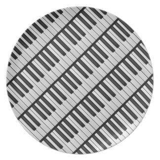 Prato Chaves pretas & brancas do piano