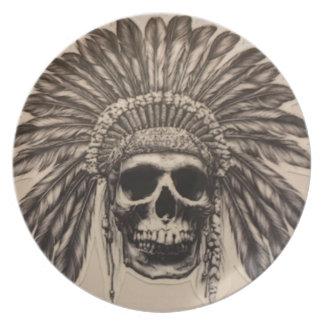 Prato Chefe do crânio do nativo americano (indiano)
