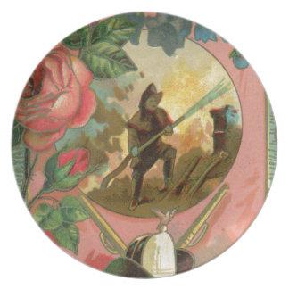 Prato Cobrir do sapador-bombeiro do bombeiro dos 1880's