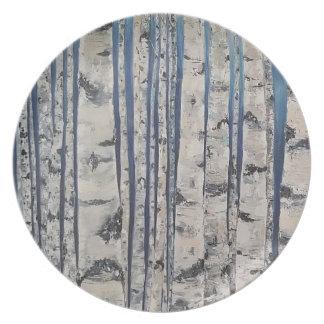 Prato Código Morse das árvores de vidoeiro
