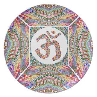 Prato Coleção da jóia da mantra do OM