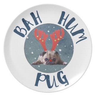 Prato Coleção do Natal do Pug do zumbido de Bah