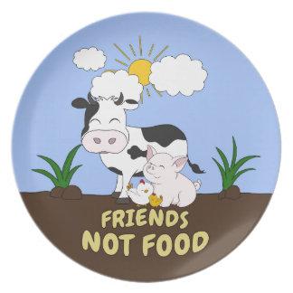 Prato Comida dos amigos não - vaca bonito, porco e