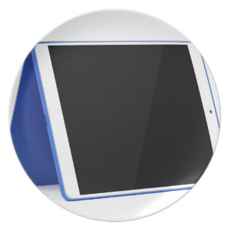 Prato Computador da tabuleta no branco