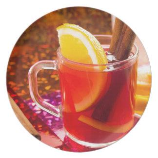 Prato Copo transparente do chá com citrino, canela