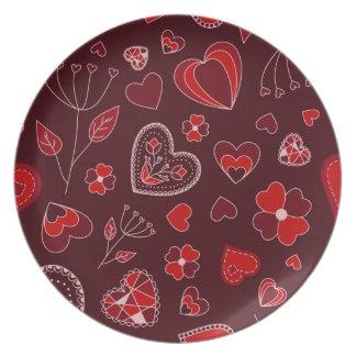 Prato Corações e placa vermelhos da melamina das flores