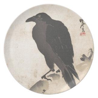 Prato Corvo de Kawanabe Kyosai que descansa na arte de