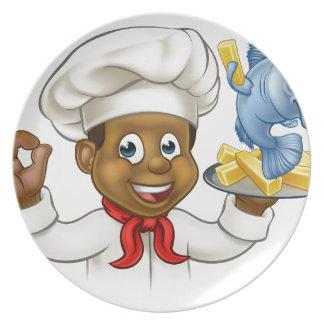 Prato Cozinheiro chefe do peixe com batatas fritas dos