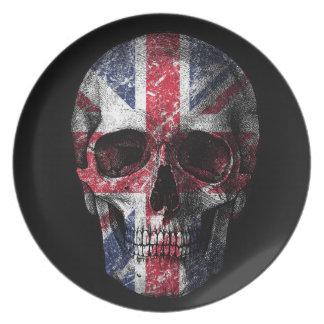 Prato Crânio BRITÂNICO da bandeira