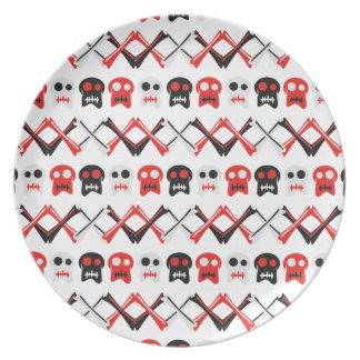 Prato Crânio cómico com teste padrão colorido cruzado