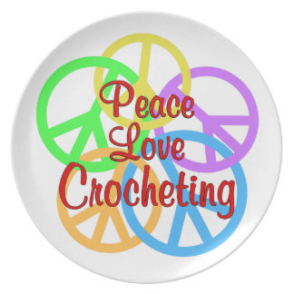 Prato Crocheting do amor da paz