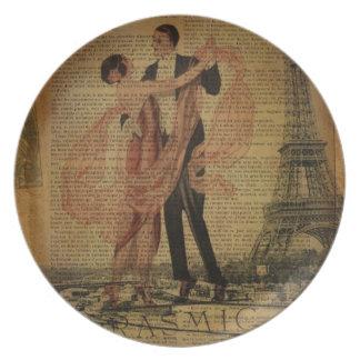 Prato dançarinos românticos do salão de baile da valsa