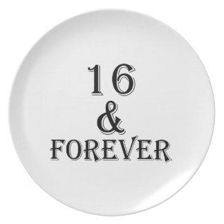 Prato De Festa 16 e para sempre design do aniversário