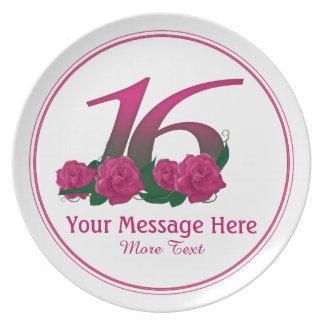 Prato De Festa 16a placa personalizada personalizada das flores
