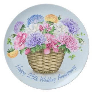 Prato De Festa 25a placa feliz da melamina do aniversário de