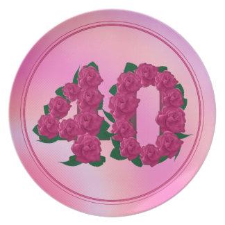 Prato De Festa 40 placa floral do aniversário 40th do aniversário
