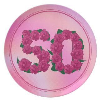 Prato De Festa 50 placa floral do aniversário 50th do aniversário