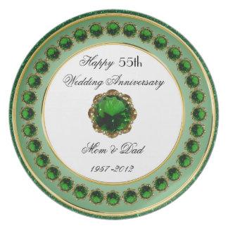 Prato De Festa 55th Placa da melamina do aniversário de casamento