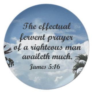 Prato De Festa 5:16 de James a oração fervente effectual de