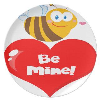 Prato De Festa A abelha bonito que guardara dizer do coração seja