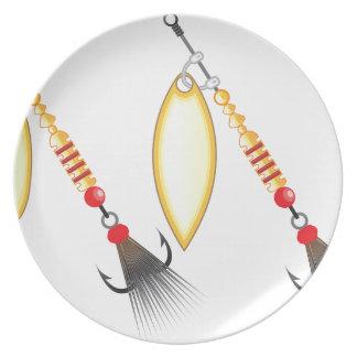 Prato De Festa A folha dourada e a forma oval projetam a pesca do