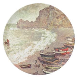 Prato De Festa A praia em Etretat - Claude Monet