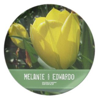Prato De Festa A tulipa amarela floresce o casamento