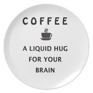 Prato De Festa Abraço líquido do café para seu cérebro