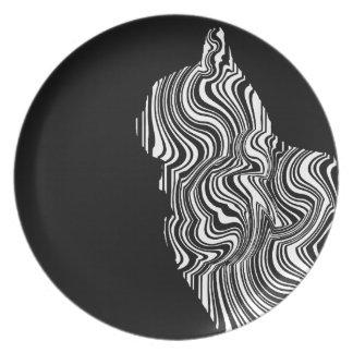Prato De Festa Abstract Black and White Cat Swirl Monochroom