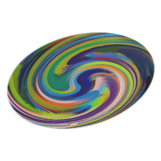 Prato De Festa Abstrato colorido #10 do redemoinho