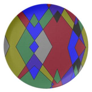 Prato De Festa Abstrato colorido retro do diamante