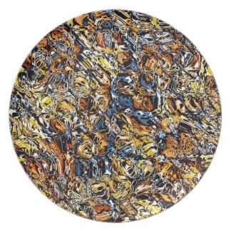 Prato De Festa Abstrato da laranja e do azul
