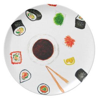 Prato De Festa Aguarela ajustada do sushi