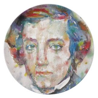 Prato De Festa Alexis de tocqueville - retrato da aguarela